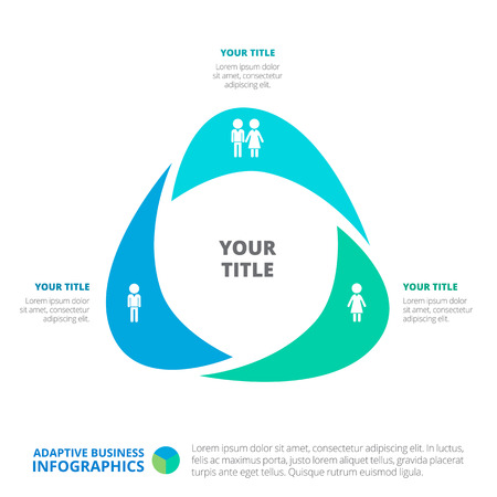 titles: Triangle business infographic diagram. Editable template with male and female icons, titles and sample text Illustration