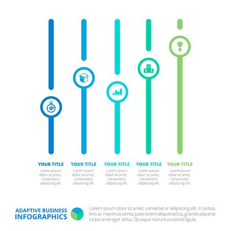 titles: Editable infographic template of five vertical timeline diagrams with icons, titles and sample text, multicolored version
