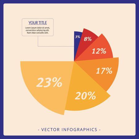 sector: Multicolored editable template for radial diagram with percent marks in each sector and sample text