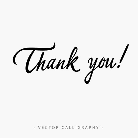 missive: Black calligraphic Thank you inscription on white background