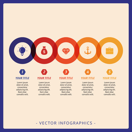 Multicolored template for circular process diagram with sample text and percent marks Stock Illustratie