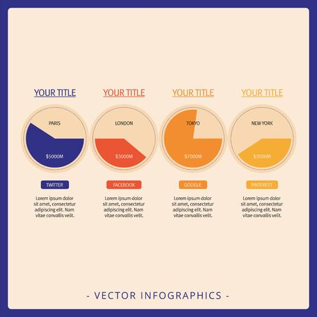 presence: Multicolored template of circular diagrams representing social networks presence in big cities Illustration