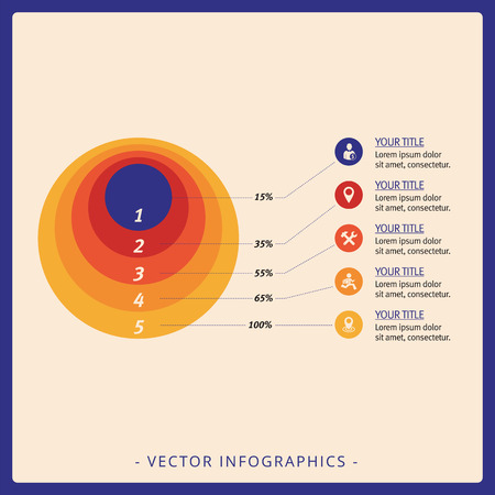 Multicolored template for concentric circles diagram with sample text and percent marks Illustration