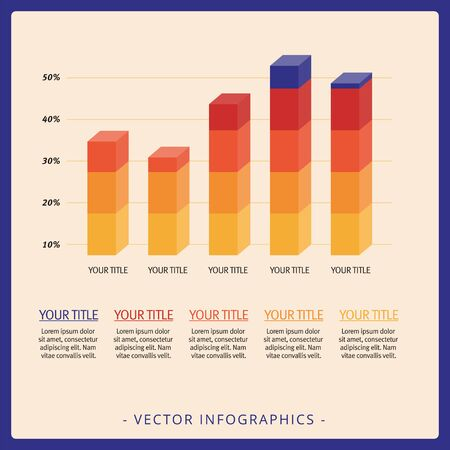vertical bars: Multicolored template of five vertical 3d bars and sample text Illustration