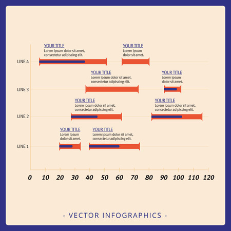 numeric: Multicolored editable template for four-line horizontal histogram with numeric scale