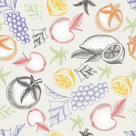 fruity: Colorful fruity seamless pattern. Hand drawing vector illustrations of different fruit