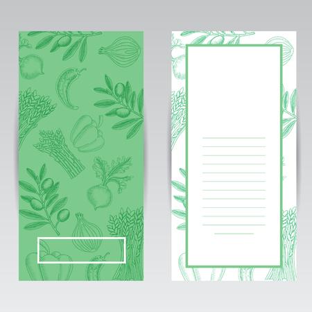 scribbling: Vertical brochure design template. Hand drawing vector illustrations of vegetables for brochure or scribbling pad
