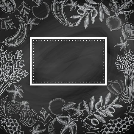 cebolla blanca: sin patrón, con ilustraciones gráfico de la mano de las frutas y hortalizas y el marco en la pizarra