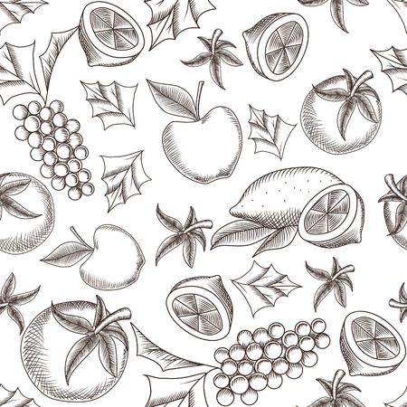 fruity: Fruity seamless pattern with hand drawing vector illustrations of lemon, grapes and apples Illustration
