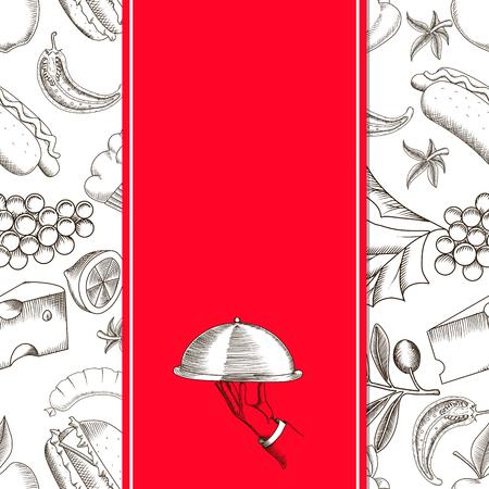 Modelo inconsútil del restaurante con ilustraciones vectoriales de dibujo a mano un plato para servir. plantilla de diseño para la cubierta del menú