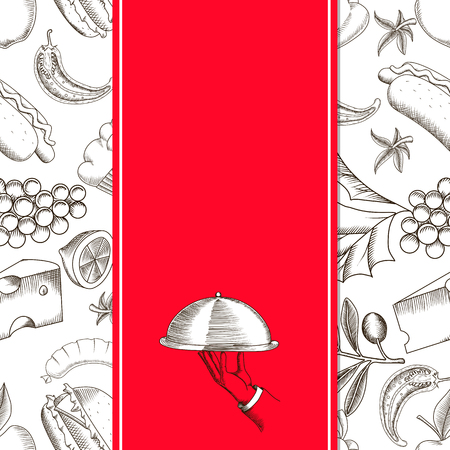 serving dish: Restaurant seamless pattern with hand drawing vector illustrations of serving dish. Design template for menu cover Illustration