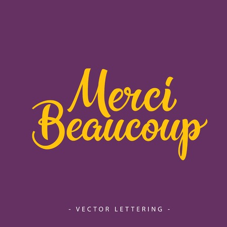 missive: Bright yellow French Merci Beaucoup inscription on purple background
