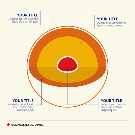 layered sphere: Core diagram template with titles and sample text, multicolored version