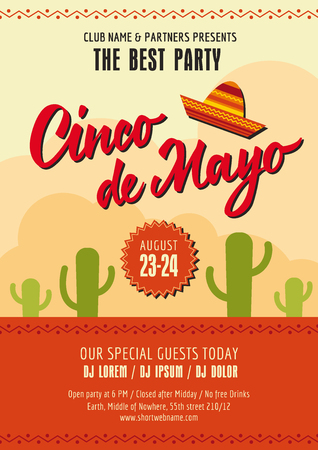 Cinco de Mayo poster template with sample text on background with peyotes and Mexican hat Illustration