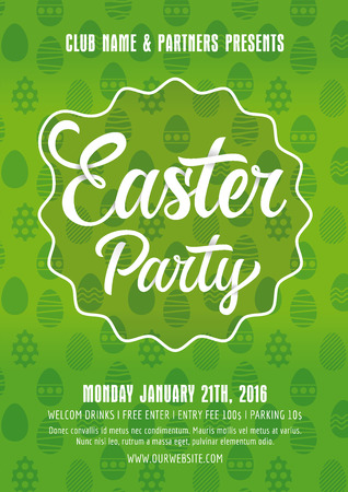 celebrate life: Easter party poster template with sample text on green background with eggs silhouette
