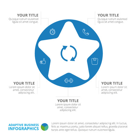 five star: Cycle star diagram template with five steps, icons, titles and sample text, multicolored version