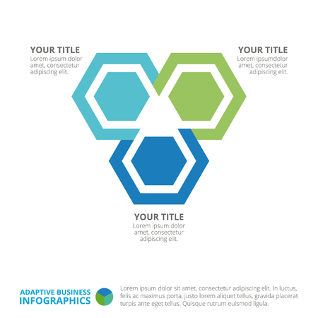 titles: Hexagon chart template with three steps, titles and sample text, multicolored version