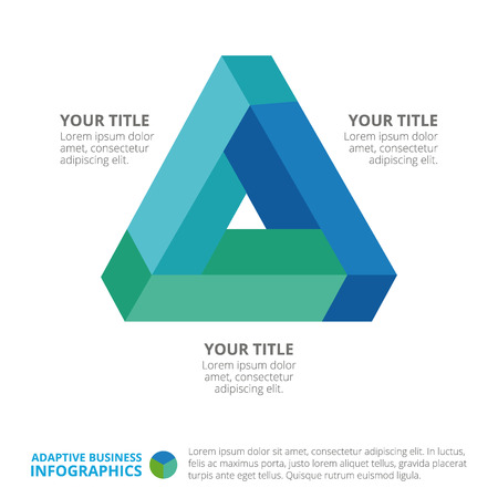 titles: Triangle diagram template with titles and sample text, multicolored version Illustration