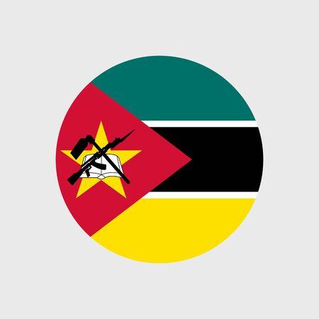 estrellas cinco puntas: Fije los iconos del vector con la bandera de Mozambique