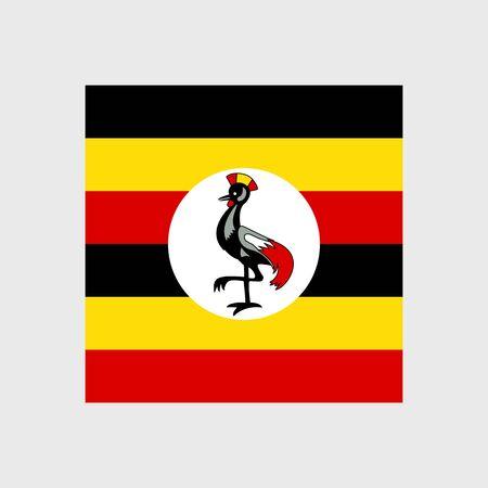 Set   vector icons with Uganda flag