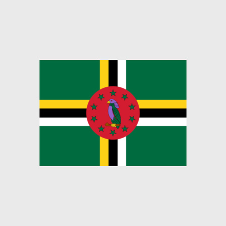 red cross red bird: Set of vector icons with Dominica flag