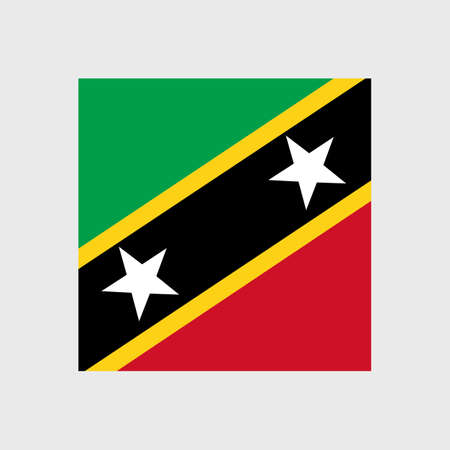 estrellas cinco puntas: Set of vector icons with Saint Kitts and Nevis flag