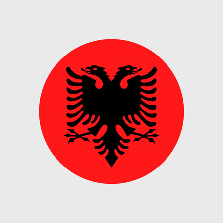 doubleheaded: Set of vector icons with Albania flag Illustration