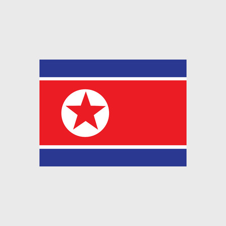 peoples: Set of vector icons with flag of the Democratic Peoples Republic of Korea