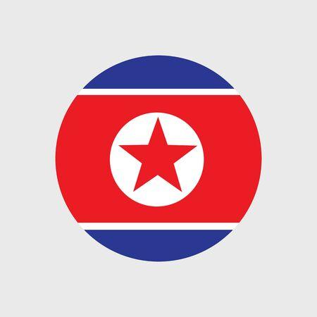 estrellas cinco puntas: Set of vector icons with flag of the Democratic Peoples Republic of Korea