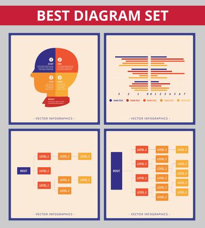 diagrama de arbol: Diagrama de negocio establecido. Plantillas para el diagrama de árbol, gráfico de barras y diagrama de la silueta de la cabeza Vectores