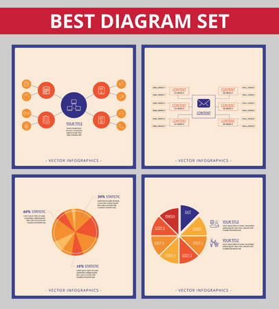 mind set: Business diagram set. Editable infographic templates for mind map diagram and pie chart Illustration