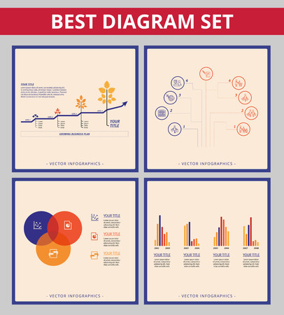 growth chart: Business diagram set. Templates for line chart, Vein diagram, bar chart and tree chart
