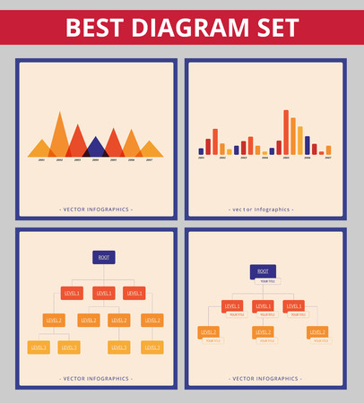 diagrama de arbol: Diagrama de negocio establecido. plantillas editables para infográficas diagrama de árbol y el gráfico de barras