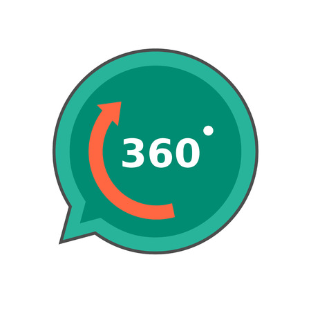 sixty: Three hundred sixty degrees colored line icon. Vector icon of three hundred sixty degrees inscription in speech bubble