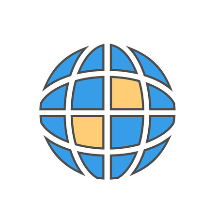 Earth globe line icon. Colored vector illustration of globe with meridians and parallels