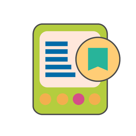book reader: E-book device with bookmark colored line icon. Vector illustration of electronic book reader