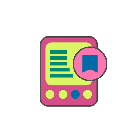 book reader: E-book with bookmark line icon. Vector illustration of electronic book reader Illustration
