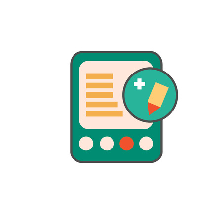 book reader: E-book with edit sign line icon. Vector illustration of electronic book reader with pencil