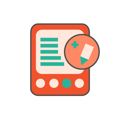 book reader: E-book with pencil in circle icon. Vector illustration of electronic book reader with edit sign