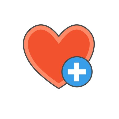 favorites: Favorites colored line icon. Vector illustration of heart with plus sign