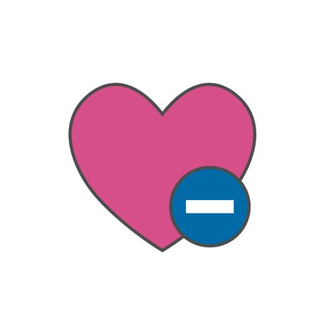 favorites: Heart with minus sign vector icon. Symbol of deleting from favorites