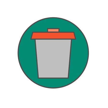application recycle: Trash bin vector icon. Colored line illustration of special container for rubbish