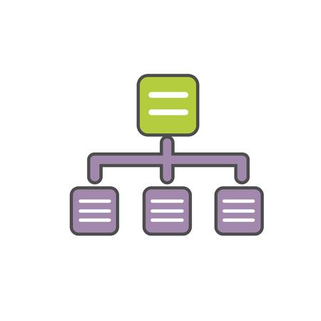 diagrama de arbol: diagrama de árbol del vector del icono. ilustración línea de color de gráfico simple árbol