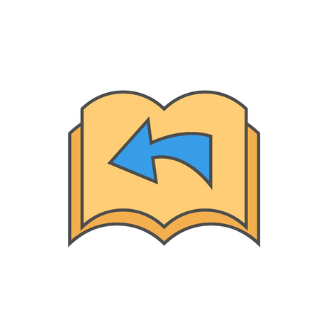 turning page: Turning page vector icon. Colored line illustration of pages with arrow