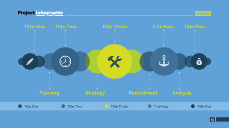 five elements: Editable presentation slide template of chart with five elements in form of circles with icons, several overlapping elements in background, titles, multicolored version