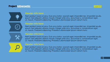 representing: Editable template of presentation slide representing list with icons, multicolored version