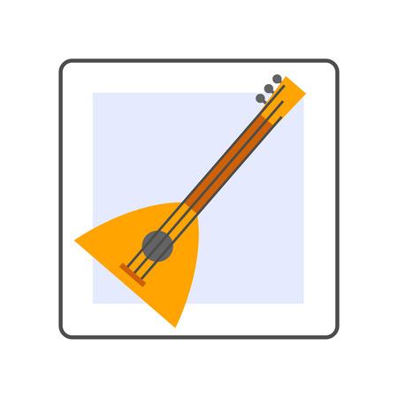 balalaika: Balalaika vector icon. Colored line icon of special Russian musical instrument