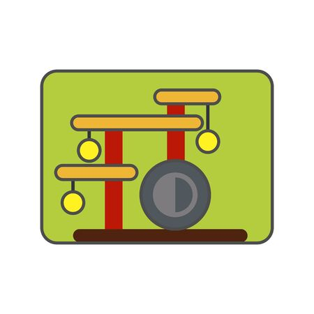 and scratching: Cat house icon. Colored vector icon of cat house with special construction for scratching claws Illustration