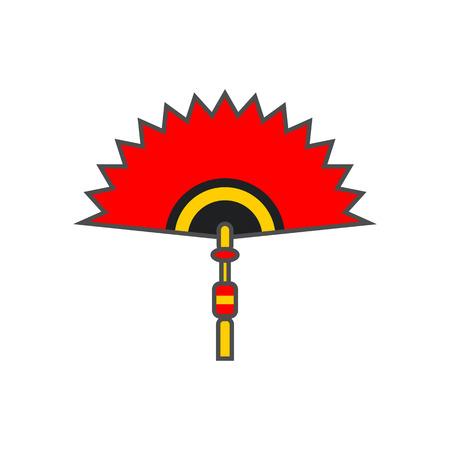 red fan: Chinese folding fan vector icon. Colored line illustration of red folding fan Illustration