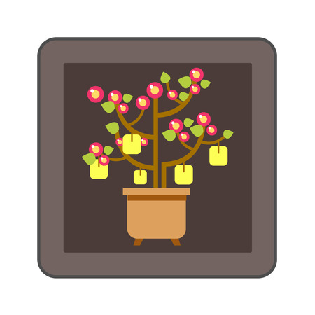 corner tub: Chinese peach tree icon. Colored line icon of Chinese New Year peach tree with packets with wishes